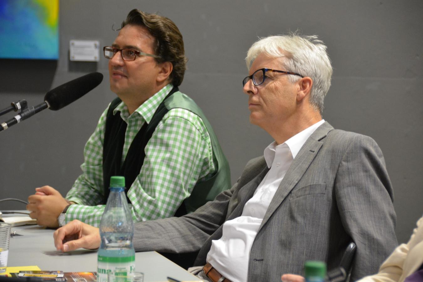 Frank Farenski (Journalist und Regisseur) mit Bürgermeister Keller