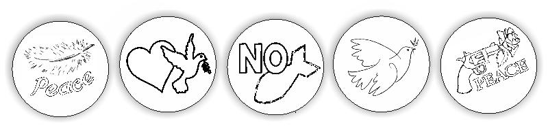 Peace-Buttons zum Ausmalen