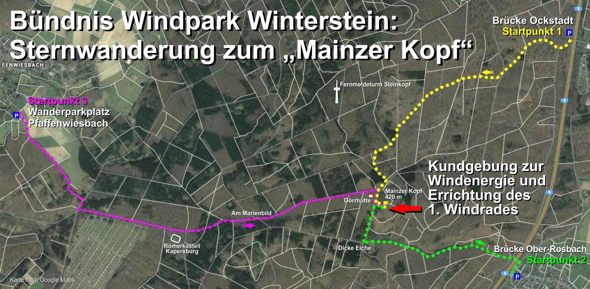 Karte der Sternwanderung zum Mainzer Kopf