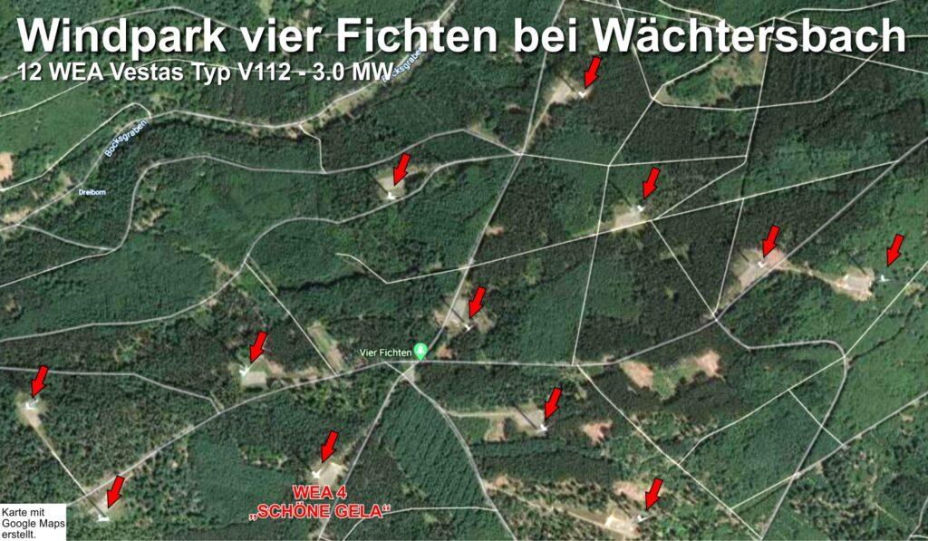 """Lage der 12 Windenergieanlagen des Windparks """"Vier Fichten"""""""